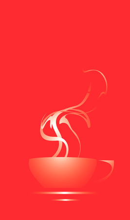 Coffee cup on a red background with steam coming out. Ilustrace