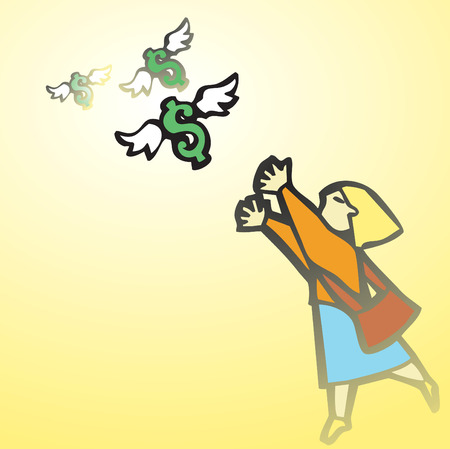 Business woman chases winged money that is escaping.