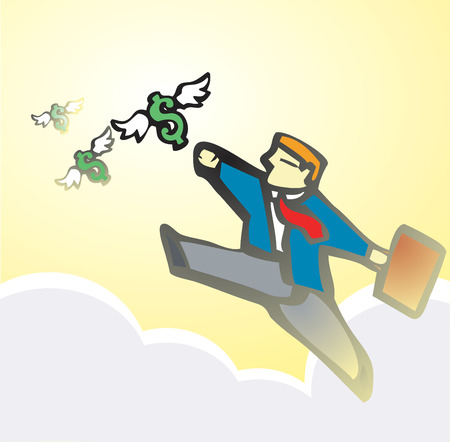 Businessman chases winged money that is escaping.