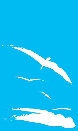 Three Seagulls flying over the ocean waves. Ilustração