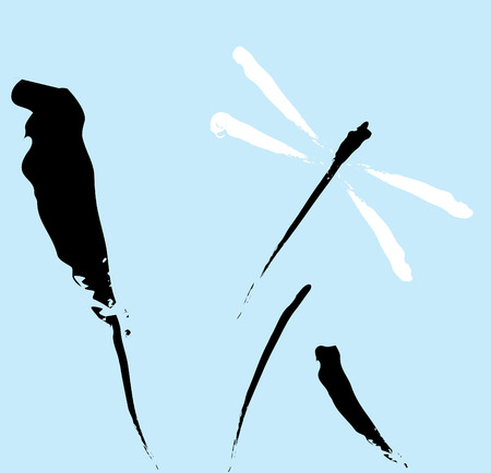 suggested: Dragonfly in an ink brush suggested style flies over reeds.