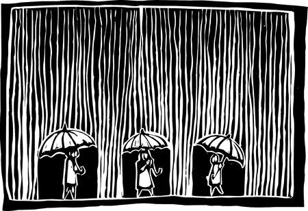 비가 내릴 때 세 명이 우산 아래 있습니다.