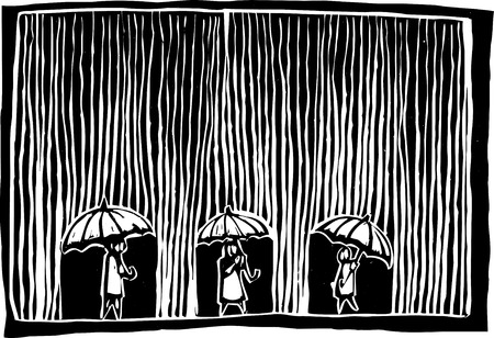 Three people are under umbrellas as the rain comes down. Vector