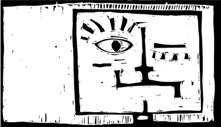 manic: Square head of happiness and sadness like Janus.