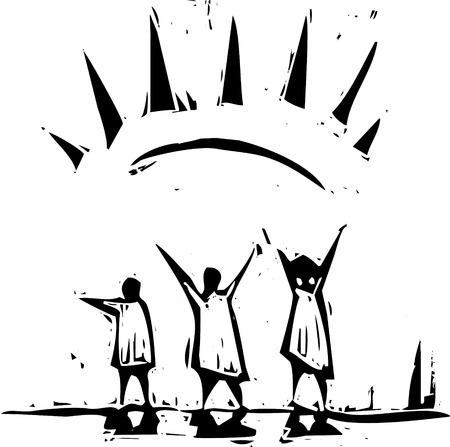 태양 아래 즐겁게 팔을 퍼뜨리는 사람들.