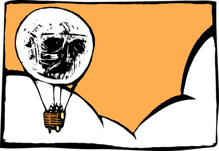 semblance: Image of skull in a hot air balloon with semblance to a light bulb.