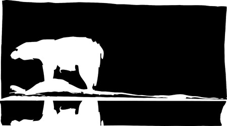Polar bear in Arctic with reflection in water. Vector