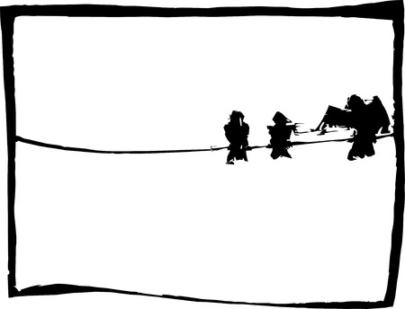 Trois oiseaux reposant sur un fil téléphonique.  Banque d'images - 6736883