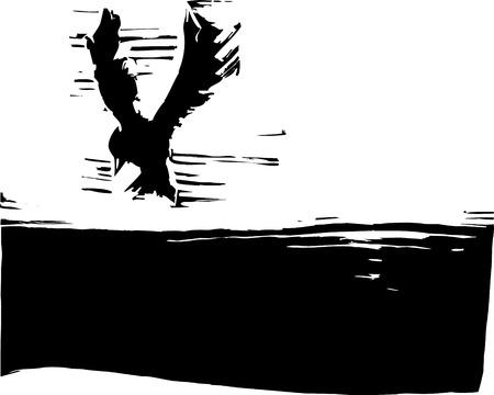 woodcut: Bird flying in the sky with dark ground. Illustration