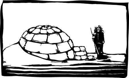 eskimo: Igloo in the northern ice with Inuit.