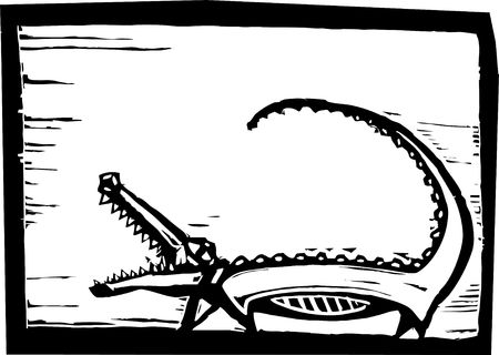 nile river: African crocodile in woodcut style in border.
