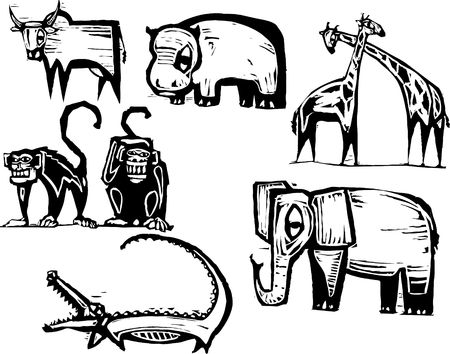 Groupe Animal africain dans un style de la gravure sur bois  Banque d'images - 6835299