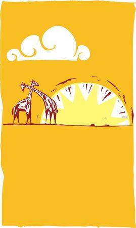 Twee giraffen op een Afrikaanse vlakte onder zonsondergang.