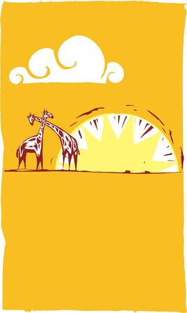 plains: Two giraffes on an african plain beneath sunset.