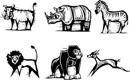 Gruppo di animali africani in stile xilografia