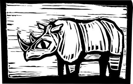 African Rhino in woodcut style in border. Stock Vector - 6835303