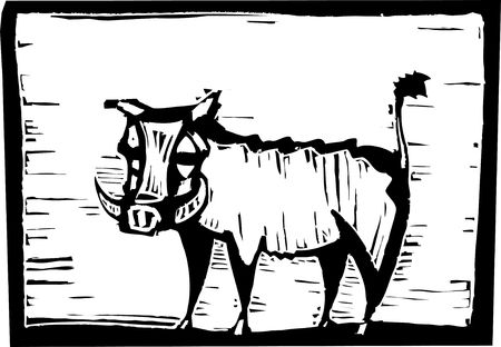 African Warthog in woodcut style in border.