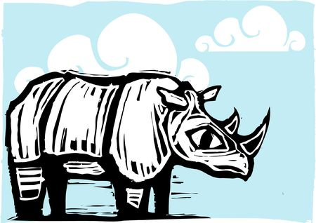 lone rhino on blue background with clouds. Stock Vector - 6835311