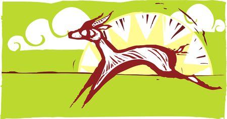 Gazelles running on an african plain.