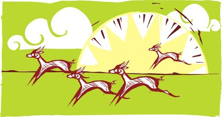 Gazelles running on an african plain.