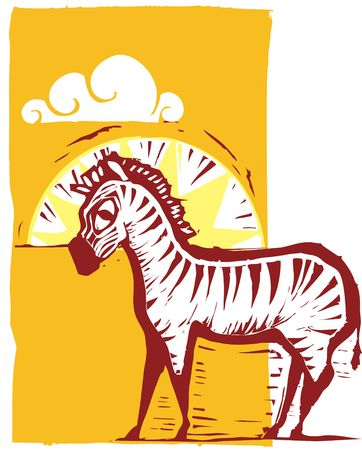 zebra on african plain with sun and clouds. Иллюстрация