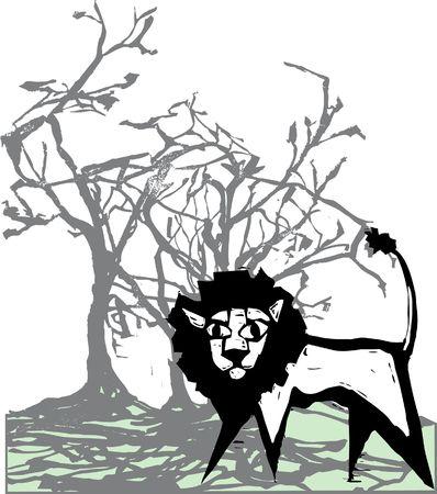 Lion onder een boom in de mist van de ochtend.