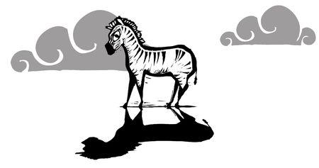 Lone zebra standing with a dark shadow. Çizim