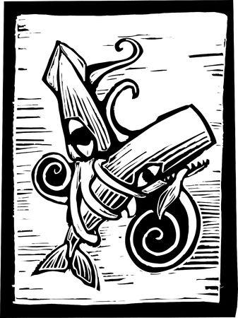Cachalot lutte contre un calmar géant à l'image de gravure rétro. Banque d'images - 6835344