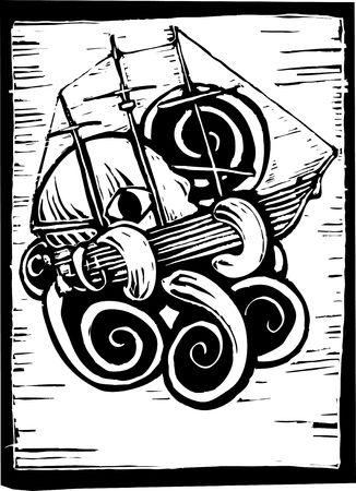 xilografia: Pulpo o Kraken aplastar un barco bajo el agua.