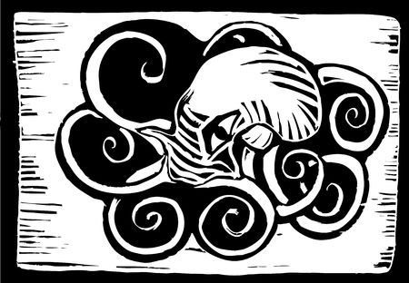 retro woodcut image of an octopus in pool of ink.