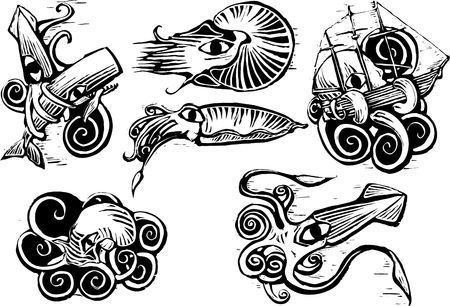 woodcut: Group of aquatic animals with squids, nautilus, cuttlefish and octopus in retro woodcut image. Illustration