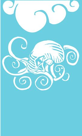 Octopus woodcut swimming underneath the ocean waves.