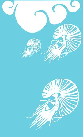 Three Nautilus woodcut swimming underneath the ocean waves. Çizim