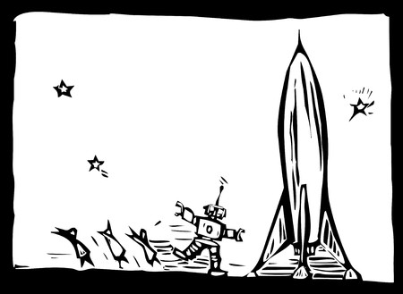 Angry robot chase people away from his rocket.