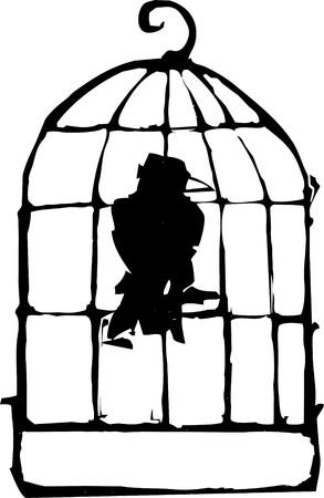 Bird sitting in a Birdcage crow or raven. photo