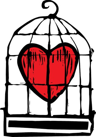 heart in a birdcage being held captive. Imagens