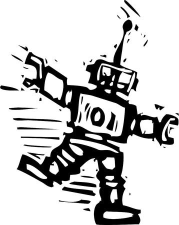 Big Robot dancing to some unheard music.