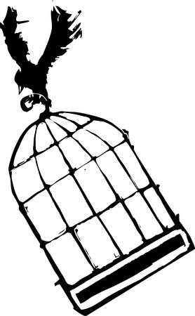 Bird Carrying off a birdcage into the sky. Stock fotó