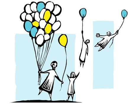 Children get balloons but are carried away the wind.