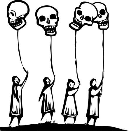 Masse der Leute halten Ballons in Form von Schädel.  Standard-Bild - 7002707