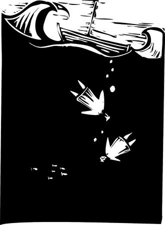 ahogarse: dos personas hundan en el oc�ano y ahogan.