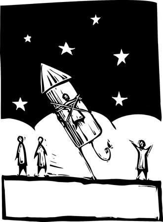 Person strapped to a fireworks style rocket. Ilustração