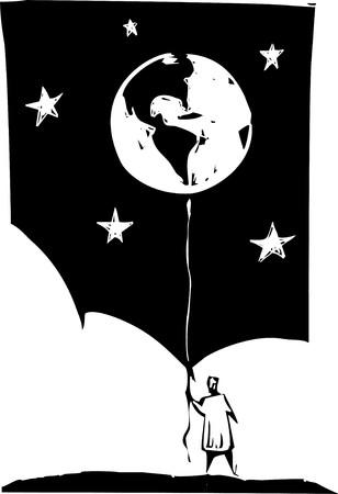 Earth seen a circus balloon hanging over clouds. Stock Vector - 7228862