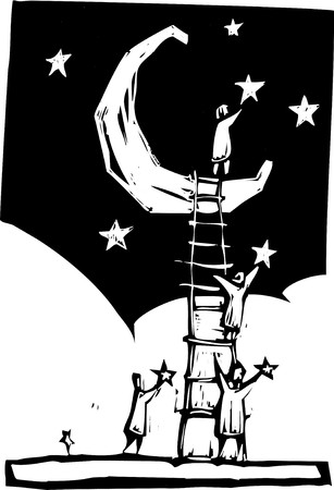 woodcut: People on a ladder resting against a moon put stars in the sky.