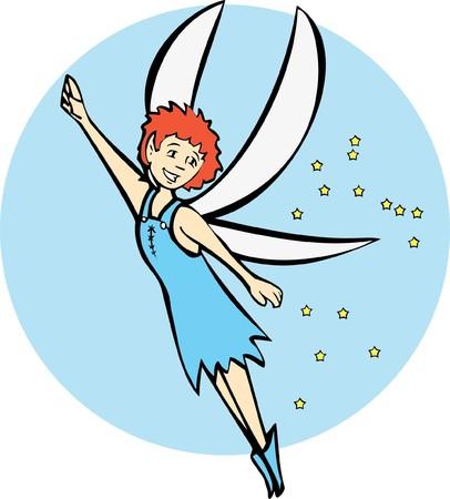 Blue Fairy scatters stars as she flies.