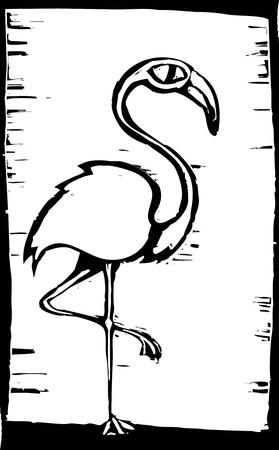 Woodcut style African flamingo standing on one leg. Vector