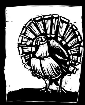 American wild turkey in woodcut style. Stock Vector - 7860749
