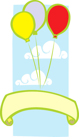 floating: Three colored party balloons with clouds and banner.