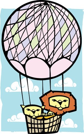 two lions in a pink balloon with clouds. Ilustração