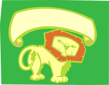 Yellow lion on green background with scroll banner.